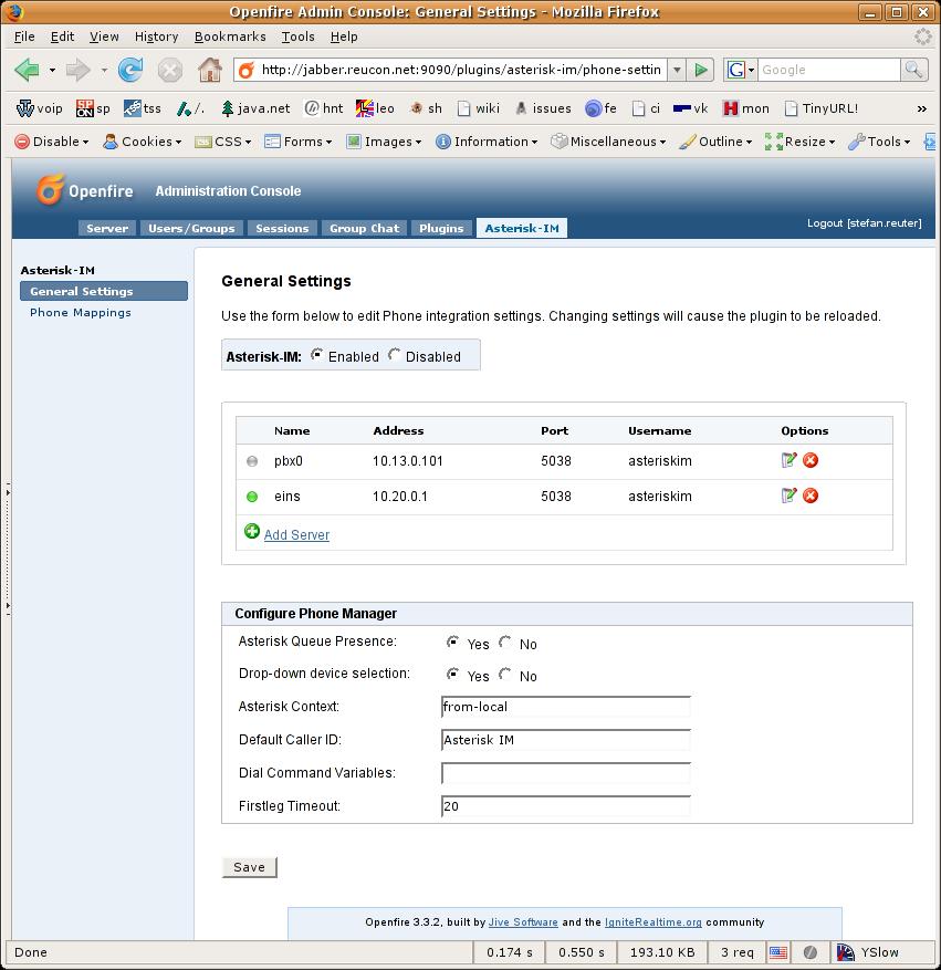 Phone Manager Configuration - Asterisk-IM - Ignite Realtime