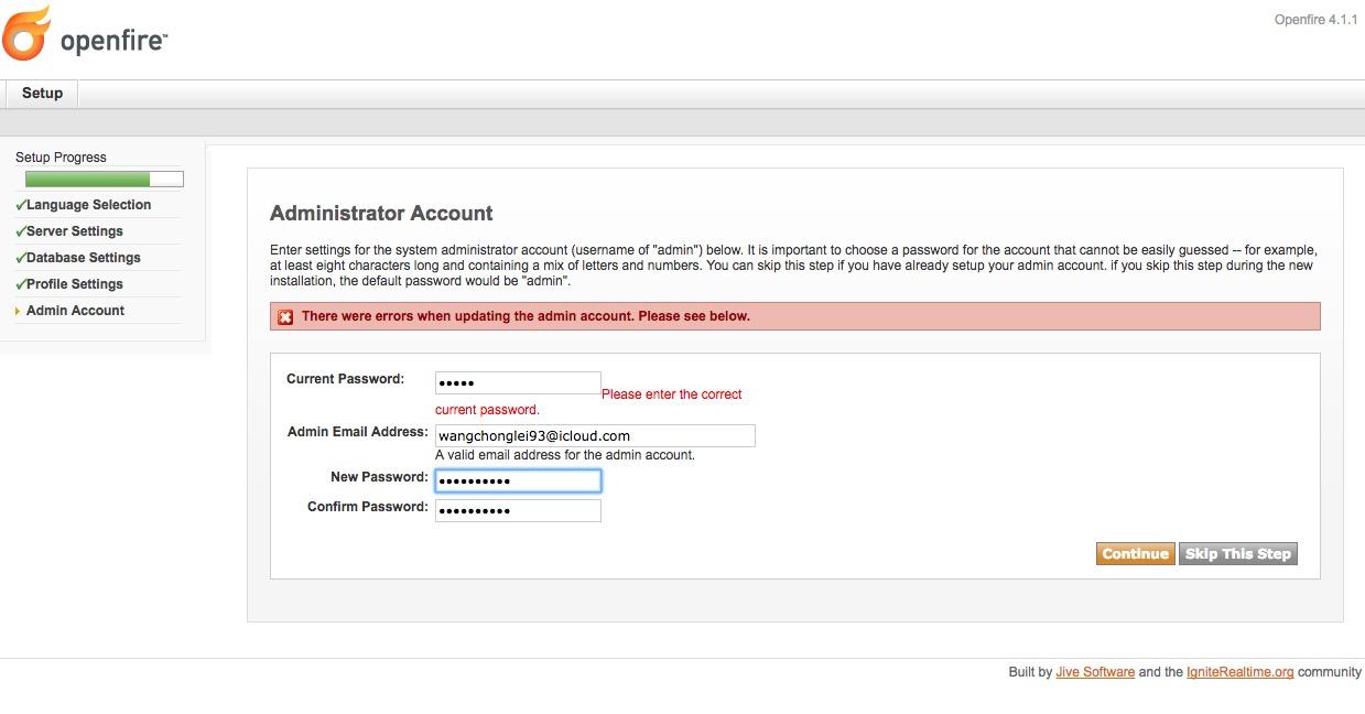 Openfire admin user not working with default password